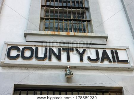 Facade of the County Jail building on Main Street