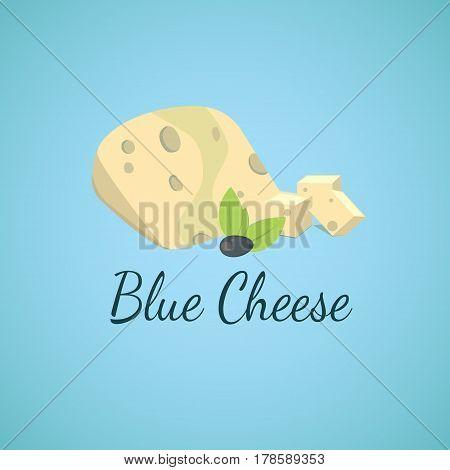 Vector blue cheese. Blue molds on sliced cheese. cartoon illustration