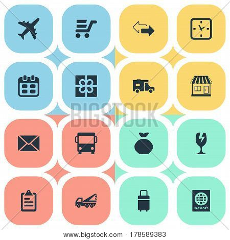 Vector Illustration Set Of Simple Distribution Icons. Elements Eviction Vehicle, Trip Luggage, Caravan And Other Synonyms Date, Trailer And Glass.