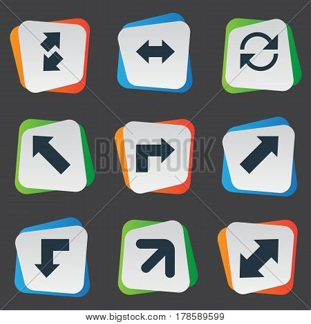 Vector Illustration Set Of Simple Cursor Icons. Elements Right Leading Arrow, Pointer, Straight-Back And Other Synonyms Slanted, Arrow And Downwards.