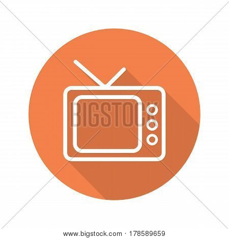 Retro TV set flat linear long shadow icon. Television. Vector line symbol