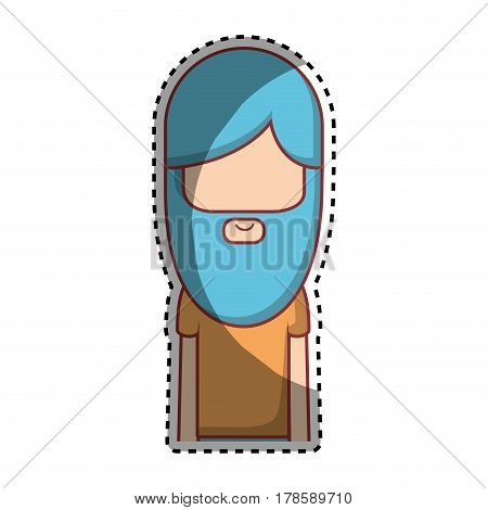 man with beard and hairstyle icon, vector illustration design