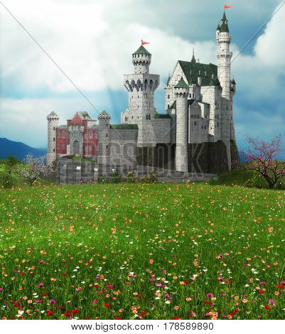 3D rendering of a romantic fairytale castle in an idyllic landscape framed by thorny vines.