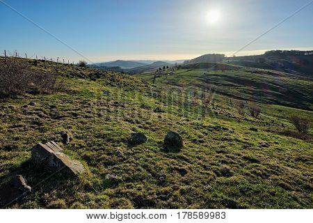 country landscape of Nebrodi Park in the morning light, Sicily