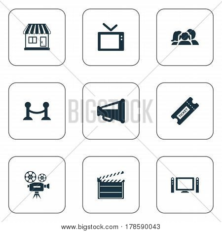 Vector Illustration Set Of Simple Film Icons. Elements Megaphone, Rope Barrier, Home Cinema And Other Synonyms Retro, Television And Montage.
