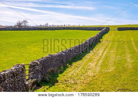 traditional dry stone wall in the Lake District, Cumbria.