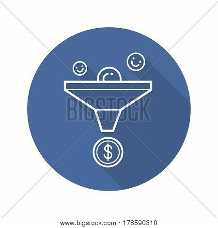 Sales funnel flat linear long shadow icon. Marketing funnel concept. Vector line symbol