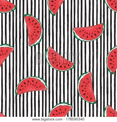 Water Melon Seamless Pattern Striped Vector Illustration
