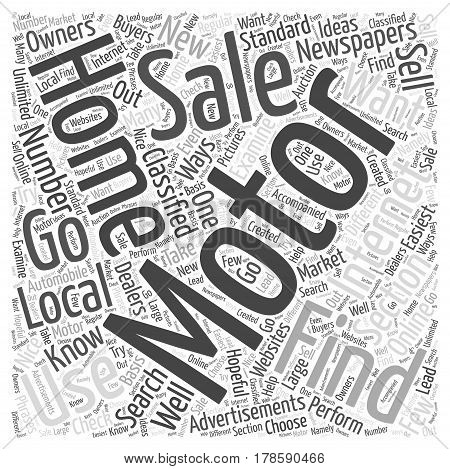 How to Find Motor Homes for Sale Word Cloud Concept