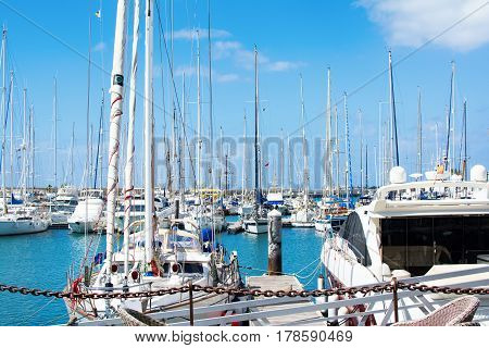 Marina Rubicon in Playa Blanca Southern part of Lanzarote Canary islands view of the sea and the boats
