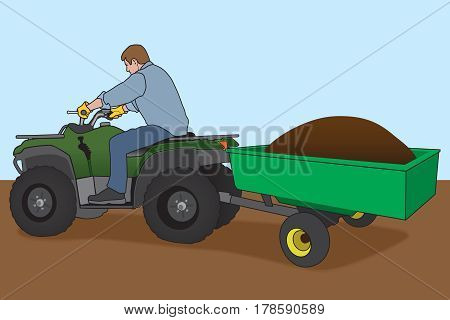Man is using his ATV hitched to a trailer to move a load of dirt