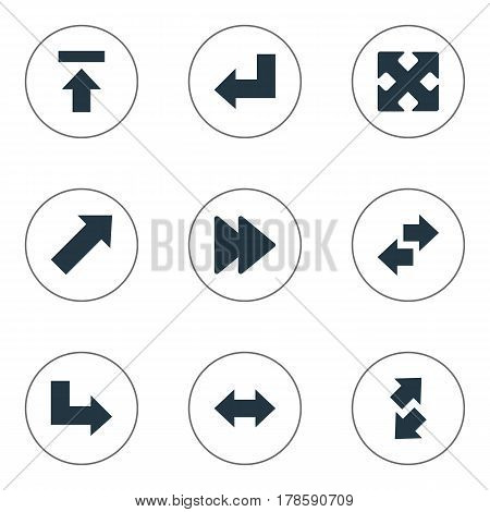 Vector Illustration Set Of Simple Indicator Icons. Elements Crossed Arrows, Left-Right, Pointer And Other Synonyms Upper, Transfer And Slanted.