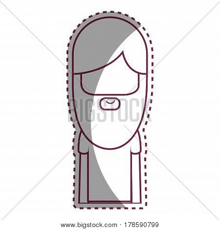 contour man with beard and hairstyle icon, vector illustration design