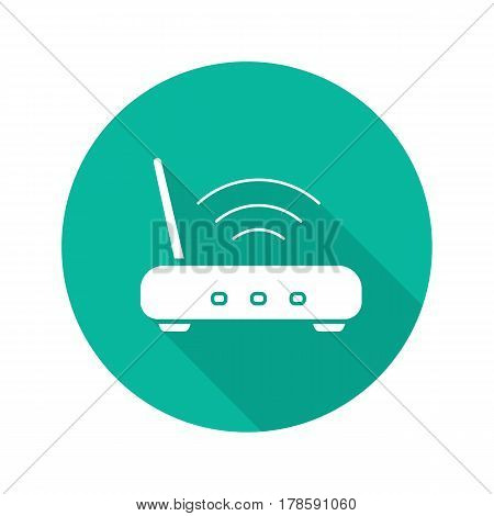 Wifi router flat design long shadow icon. Wi fi signal. Vector silhouette symbol