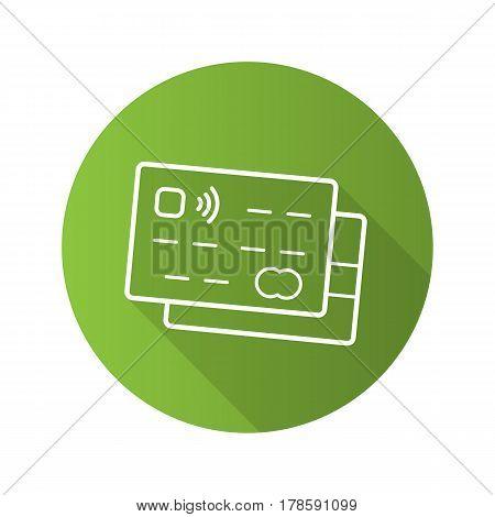 Credit cards flat linear long shadow icon. Bank debit cards. Vector line symbol