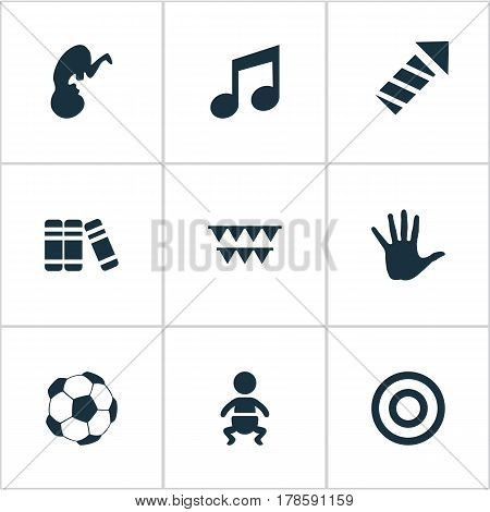 Vector Illustration Set Of Simple Kid Icons. Elements Kid, Melody, Bookshop And Other Synonyms Baby, Kid And Infant.