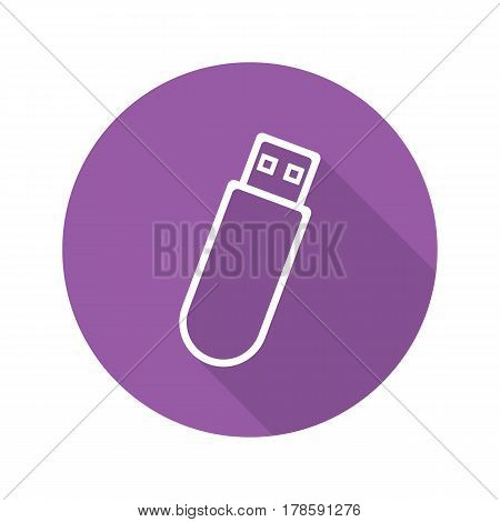 USB flash drive. Flat linear long shadow icon. USB stick. Vector line symbol