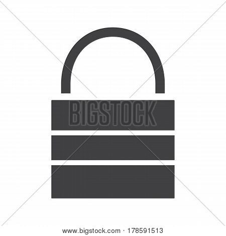 Lock icon. Security silhouette symbol. Closed padlock. Negative space. Vector isolated illustration