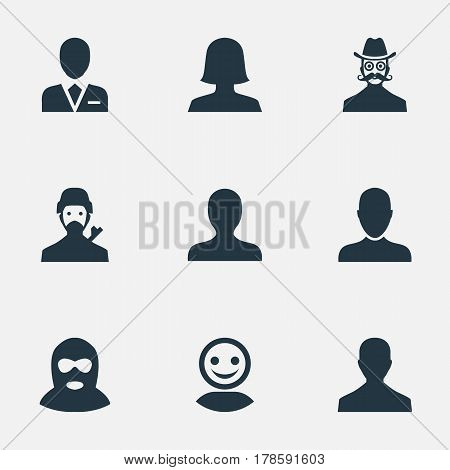 Vector Illustration Set Of Simple Member Icons. Elements Felon, Male User, Internet Profile And Other Synonyms Workman, Mustache And Felon.
