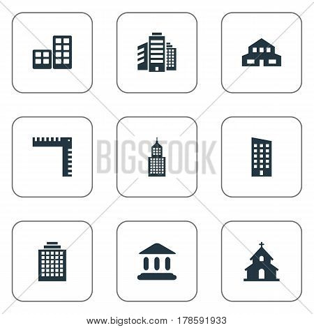 Vector Illustration Set Of Simple Construction Icons. Elements Popish, Flat, Length And Other Synonyms Hut, Offices And Length.