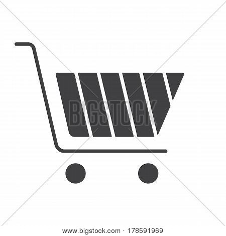 Shopping cart icon. Buy silhouette symbol. Negative space. Vector isolated illustration