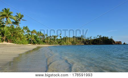 Panoramic Landscape Of A Remote Tropical Beach In The Yasawa Islands Fiji