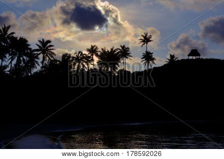 Silhouette Landscape Of A Remote Tropical Beach In Fiji