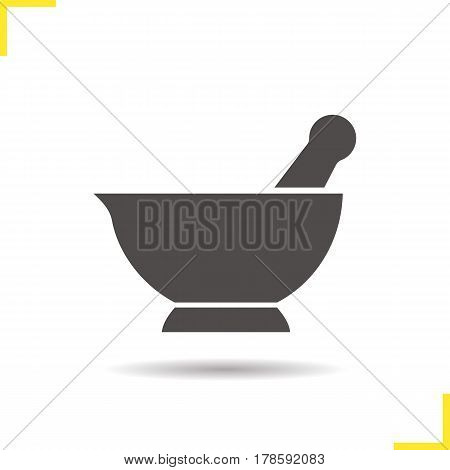 Mortar and pestle icon. Drop shadow naturopathy silhouette symbol. Alternative herbal medicine. Negative space. Vector isolated illustration