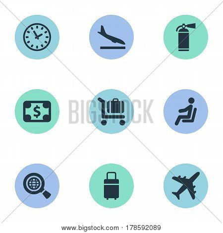Vector Illustration Set Of Simple Plane Icons. Elements Protection Tool, Travel Bag, Watch And Other Synonyms Fire, Money And Bag.