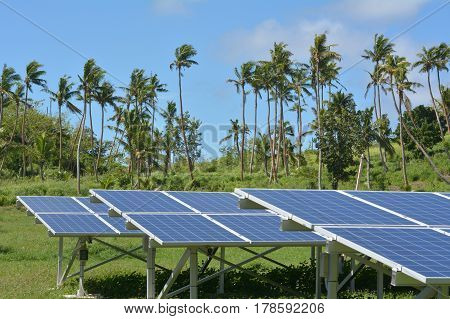 Solar PV modules on remote Island in Fiji. Fiji Sustainable Energy goals include sourcing more than 80% of the countrys electricity from renewable energies by 2020 and 100% by 2030.
