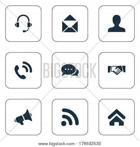Vector Illustration Set Of Simple Network Icons. Elements House Location, Member, Talking And Other Synonyms Handshake, Megaphone And Office.