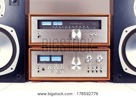 Amplifier, Tuner, Speakers Stereo Vintage Audio System Retro Set