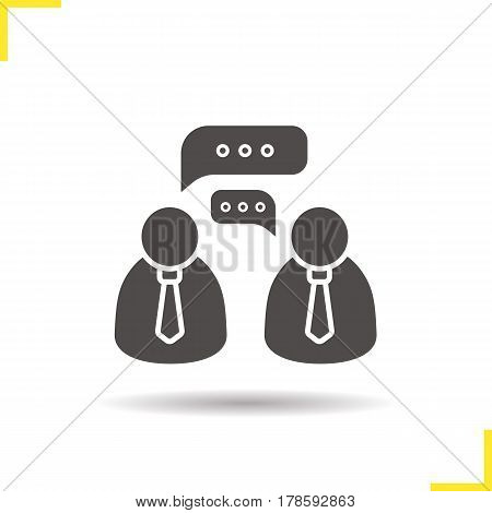 Business talk icon. Drop shadow negotiations silhouette symbol. Job interview. Negative space. Vector isolated illustration