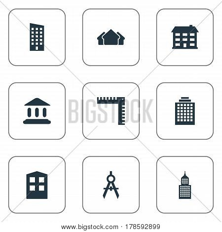 Vector Illustration Set Of Simple Structure Icons. Elements Floor, Structure, School And Other Synonyms Downtown, Architecture And Direction.