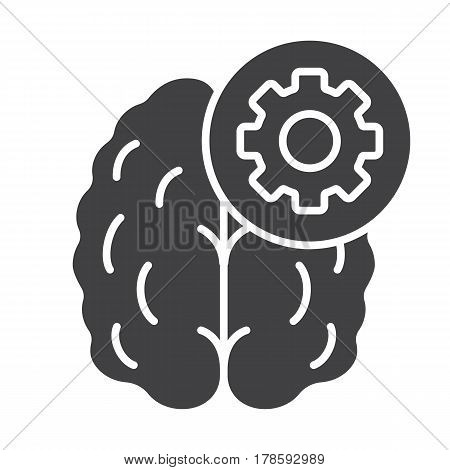 Practical mind icon. Technical thinking silhouette symbol. Human brain with cogwheel. Negative space. Vector isolated illustration
