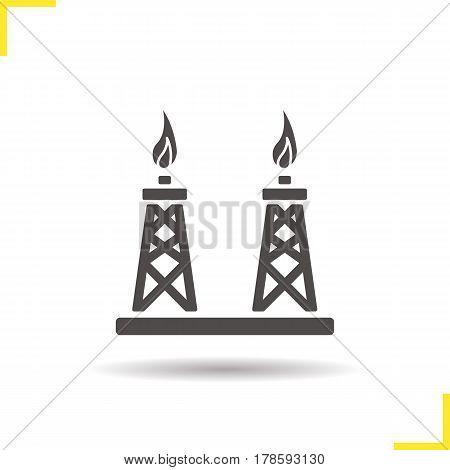 Gas towers icon. Drop shadow silhouette symbol. Gas derrick. Negative space. Vector isolated illustration