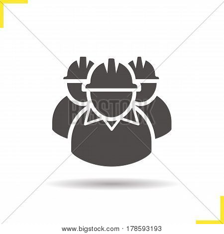 Mine workers icon. Drop shadow silhouette symbol. Industrial factory workers. Negative space. Vector isolated illustration