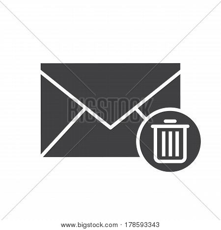 Delete email icon. Silhouette symbol. Letter with recycle bin. Negative space. Vector isolated illustration