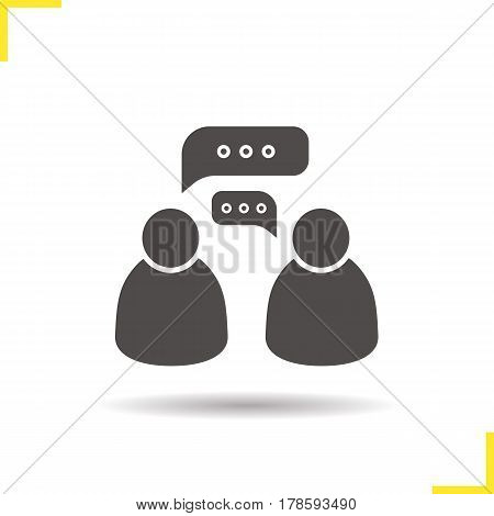 Two speakers icon. Drop shadow dialogue silhouette symbol. Informal talk. Negative space. Vector isolated illustration