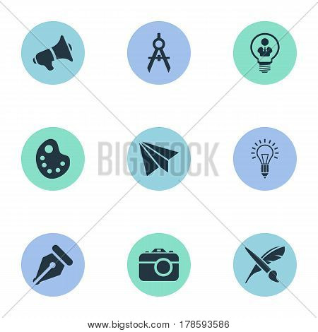 Vector Illustration Set Of Simple Creative Thinking Icons. Elements Photo Tool, Dividers, Mentality And Other Synonyms Brain, Paint And Pen.