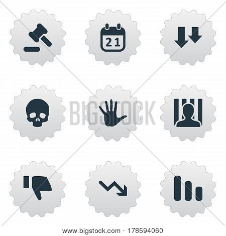 Vector Illustration Set Of Simple Situation Icons. Elements Tribunal, Agenda, Head Bone And Other Synonyms Court, Business And Decreasing.