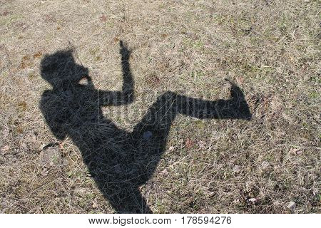 dancing little shadow on the spring sunny meadow