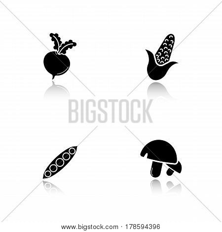 Vegetables drop shadow black icons set. Beet root, open peapod, mushrooms, corn. Isolated vector illustrations