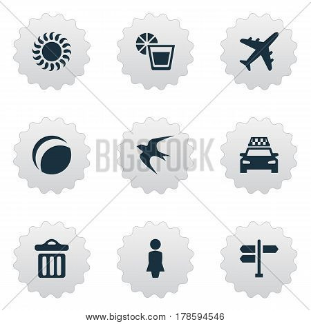 Vector Illustration Set Of Simple Seaside Icons. Elements Beverage, Taxi, Crossroad And Other Synonyms Taxi, Trash And Dustbin.