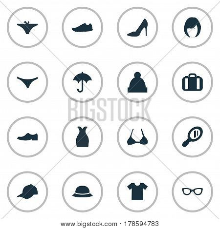 Vector Illustration Set Of Simple Dress Icons. Elements Lingerie, Elegance, Brolly And Other Synonyms Male, Underpants And Shoe.