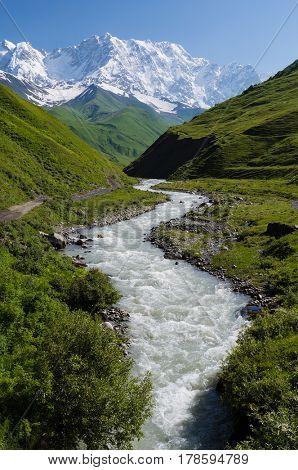 Summer landscape with river and  snowy mountain. Peak Shkhara Zemo Svaneti, Georgia. The main Caucasian ridge