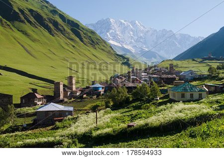 Summer mountain landscape with a snowy peak and a green valley. Old village with stone houses and medieval towers. Ushguli community. View of Shkhara Mount. Main Caucasian ridge, Zemo Svaneti, Georgia