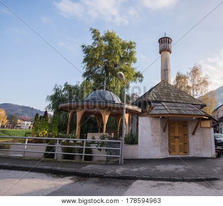 Mosque with fountain in front