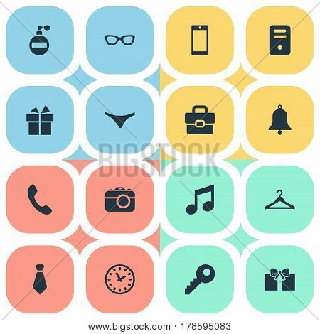 Vector Illustration Set Of Simple  Icons. Elements Underwear, Business Bag, Ring And Other Synonyms Telephone, Watch And Diplomat.