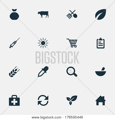 Vector Illustration Set Of Simple Agricultural Icons. Elements Wheat, Syringe, Refresh And Other Synonyms Drug, Horticulture And Vaccine.